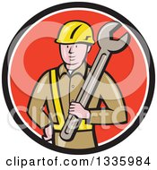 Clipart Of A Cartoon White Male Construction Worker Holding A Giant Spanner Wrench Against His Shoulder In A Black White And Red Circle Royalty Free Vector Illustration