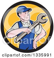 Clipart Of A Cartoon Proud White Male Mechanic Holding A Wrench In A Black And Yellow Circle Royalty Free Vector Illustration