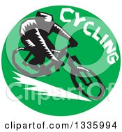 Clipart Of A Retro Woodcut Cyclist With Text In A Green Circle Royalty Free Vector Illustration by patrimonio