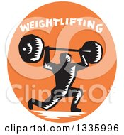 Clipart Of A Retro Black And White Woodcut Bodybuilder Male Athlete Doing Lunges With A Barbell With Text In An Orange Oval Royalty Free Vector Illustration