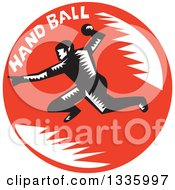 Clipart Of A Retro Black And White Woodcut Male Handball Player In Action With Text In A Red Circle Royalty Free Vector Illustration by patrimonio