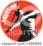Clipart Of A Retro Black And White Woodcut Male Track And Field Athlete Throwing A Javelin With Text In A Red Circle Royalty Free Vector Illustration