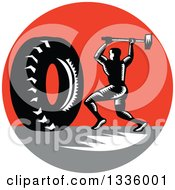 Clipart Of A Retro Black And White Woodcut Athlete Swinging A Sledgehammer At A Giant Tire In A Red And Gray Circle Royalty Free Vector Illustration by patrimonio