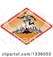Clipart Of A Retro Black And White Woodcut Man Jumping Over A Fire In An Obstacle Course Inside A Red White And Orange Ray Diamond Royalty Free Vector Illustration