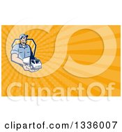 Clipart Of A Retro Delivery Man Holding A Truck In His Hand And Orange Rays Background Or Business Card Design Royalty Free Illustration by patrimonio