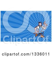 Cartoon White Male Builder Running With Tools And Blue Rays Background Or Business Card Design
