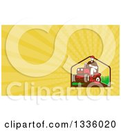 Clipart Of A Retro Farmer Or Gardener Operating A Ride On Lawn Mower And Yellow Rays Background Or Business Card Design Royalty Free Illustration