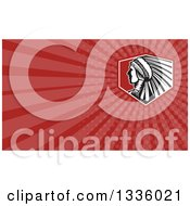 Clipart Of A Retro Native American Indian Chief Warrior And Red Rays Background Or Business Card Design Royalty Free Illustration