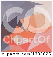 Clipart Of A Low Poly Abstract Geometric Background Of Atomic Tangerine Orange Blue Royalty Free Vector Illustration