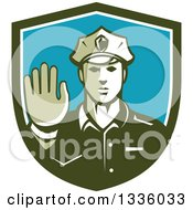 Clipart Of A Retro White Male Police Officer Gesturing Stop With His Hand Inside A Green White And Blue Shield Royalty Free Vector Illustration