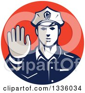 Clipart Of A Retro White Male Police Officer Gesturing Stop With His Hand Inside A Red Circle Royalty Free Vector Illustration