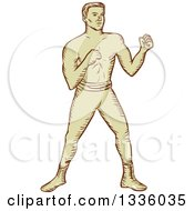Clipart Of A Retro Sketched Male Boxer Ready To Fight Royalty Free Vector Illustration