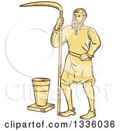Clipart Of A Retro Sketched Or Engraved Medieval Male Farmer With A Scythe And Bucket Royalty Free Vector Illustration