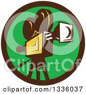 Clipart Of A Retro Film Movie Camera In A Brown And Green Circle Royalty Free Vector Illustration