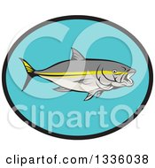 Clipart Of A Yellowtail Kingfish In A Black And Blue Oval Royalty Free Vector Illustration