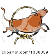 Clipart Of A Cartoon Texas Longhorn Steer Bull Leaping Through A Rodeo Lasso Royalty Free Vector Illustration by patrimonio