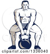 Clipart Of A Retro Muscular Male Bodybuilder Athlete Squatting With A Kettlebell Royalty Free Vector Illustration