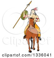 Cartoon Native American Indian Brave Holding A Spear And Shield On Horseback