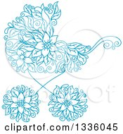 Clipart Of A Blue Floral Baby Carriage Stroller Pram Royalty Free Vector Illustration
