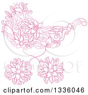 Clipart Of A Pink Floral Baby Carriage Stroller Pram Royalty Free Vector Illustration