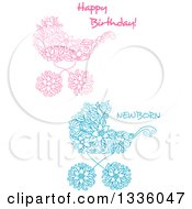 Clipart Of Pink And Blue Floral Baby Carriage Stroller Prams With Text Royalty Free Vector Illustration by Vector Tradition SM