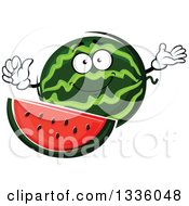 Clipart Of A Cartoon Watermelon Character Presenting And Giving A Thumb Up Royalty Free Vector Illustration by Vector Tradition SM
