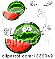 Clipart Of A Cartoon Face Hands And Watermelons 3 Royalty Free Vector Illustration