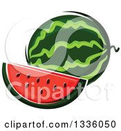 Clipart Of A Cartoon Watermelon And Slice Royalty Free Vector Illustration