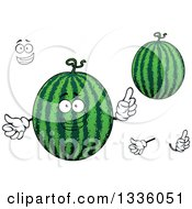 Clipart Of A Cartoon Face Hands And Watermelons 2 Royalty Free Vector Illustration