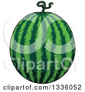 Clipart Of A Cartoon Watermelon 2 Royalty Free Vector Illustration