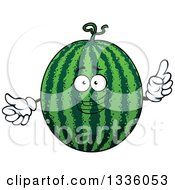Clipart Of A Cartoon Watermelon Character Holding Up A Finger Royalty Free Vector Illustration by Vector Tradition SM