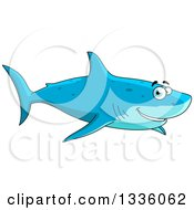 Clipart Of A Cartoon Happy Blue Shark Smiling And Swimming Royalty Free Vector Illustration