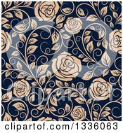 Clipart Of A Seamless Pattern Of Tan Roses On Navy Blue 4 Royalty Free Vector Illustration