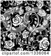 Clipart Of A Seamless Background Pattern Of White Roses And Leaves Over Black 3 Royalty Free Vector Illustration