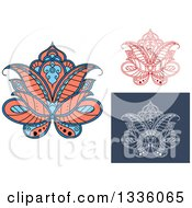 Clipart Of Beautiful Salmon Pink Blue Red And White Henna Lotus Flowers Royalty Free Vector Illustration
