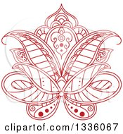 Clipart Of A Beautiful Red Henna Lotus Flower 2 Royalty Free Vector Illustration