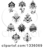Clipart Of Black And White Henna And Lotus Flowers 18 Royalty Free Vector Illustration