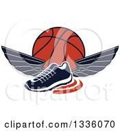 Clipart Of A Black And White Winged Shoe Over An Orange Basketball Royalty Free Vector Illustration