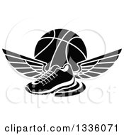 Clipart Of A Black And White Winged Shoe Over A Basketball Royalty Free Vector Illustration