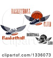 Clipart Of Winged Shoes With Swooshes Text And Basketballs Royalty Free Vector Illustration