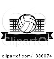 Clipart Of A Black And White Volleyball Over A Net And Blank Banner Royalty Free Vector Illustration