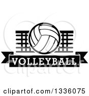Clipart Of A Black And White Volleyball Over A Net And Text Banner Royalty Free Vector Illustration