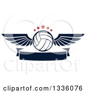 Clipart Of A Navy Blue And White Winged Volleyball With Red Stars Over A Blank Banner Royalty Free Vector Illustration