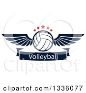Clipart Of A Navy Blue And White Winged Volleyball With Red Stars Over A Text Banner Royalty Free Vector Illustration