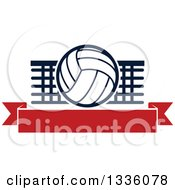 Clipart Of A Navy Blue And White Volleyball Over A Net And Blank Red Banner Royalty Free Vector Illustration by Vector Tradition SM