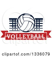 Clipart Of A Navy Blue And White Volleyball Over A Net And Red Text Banner Royalty Free Vector Illustration