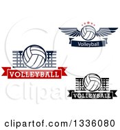 Clipart Of Volleyballs With Wings And Nets Over Banners Royalty Free Vector Illustration