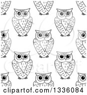 Clipart Of A Seamless Background Pattern Of Black And White Sketched Owls 3 Royalty Free Vector Illustration