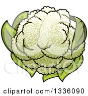 Clipart Of A Cartoon Cauliflower 2 Royalty Free Vector Illustration by Vector Tradition SM