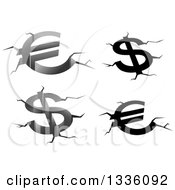 Clipart Of Grayscale Euro And Dollar Currency Symbols With Fissures And Cracks Royalty Free Vector Illustration